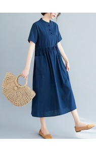 KDS100329Q Plus size linen cheongsum dress