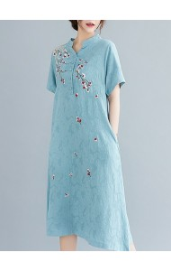 KDS109229Q Plus size linen embroidery dress