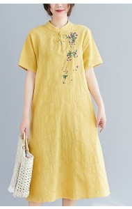 KDS102329Q Plus size linen embroidery cheongsum dress