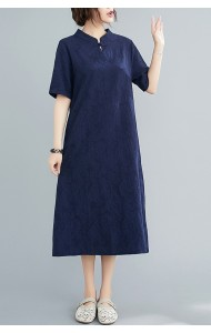 KDS101329Q Plus size linen embroidery cheongsum dress