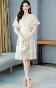 KDS106781Y V neck trumpet full lace dress