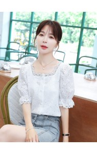 KTP119898Q Square neck crochet blouse