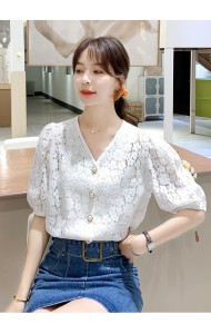 KTP119398Q V neck blouse with pearl button