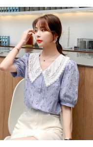 KTP112598Q V neck crochet blouse