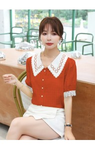 KTP110898Q Crochet collar checker blouse