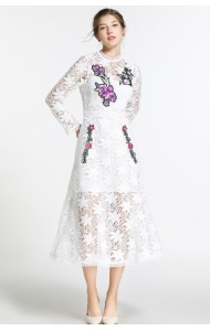 BDS116096S SALES Embroidery white lace dress