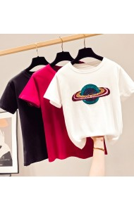 KTP11549Y SALES Sequin planet cotton t shirt