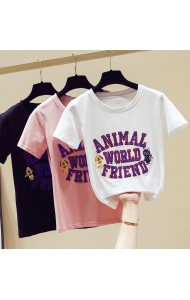 KTP11779Y SALES Sequin animal cotton t shirt