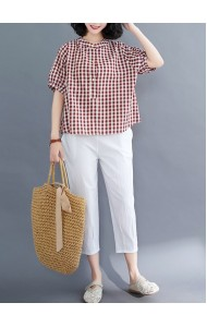 KTP11112X Linen checker blouse