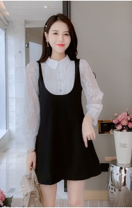 KDS110128Y Fake 2 pc lace sleeves dress