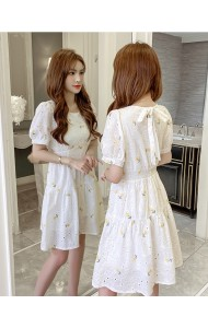 KDS116139Q Embroidery back bow dress
