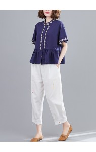 KTP113355Y Linen embroidery wawa blouse