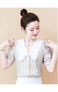 KTP116519J Collar stripes blouse
