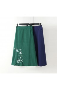 KSK11117G Plus size embroidery linen skirt