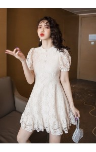 KDS117278W Puff sleeves lace skater dress