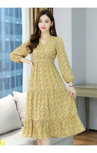 KDS126319H  Yellow V neck floral dress