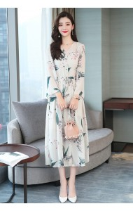 KDS129289H Trumpet sleeves floral dress
