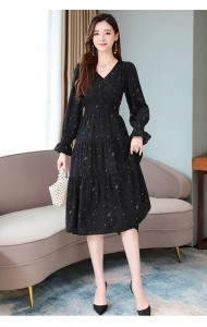 KDS120399H Black v neck chiffon dress