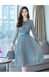 KDS122179H Chiffon polka belted dress