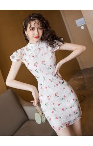 KDS120378W Full lace ruffle sleeves cheongsum dress
