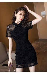 KDS128178W Velvet lace cheongsum dress