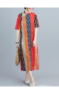 KDS128211Q Linen stripes floral cheongsum dress