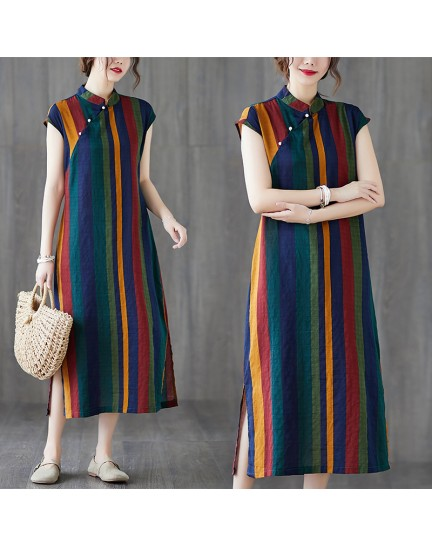 KDS125228Q Linen stripes cheongsum dress