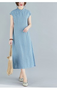 KDS120918Q Linen floral cheongsum dress