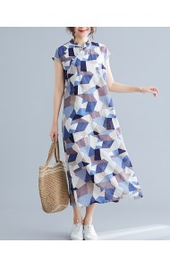 KDS126418Q Linen checker cheongsum dress
