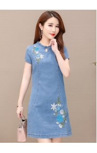 KDS126891J Embroidery denim cheongsum dress
