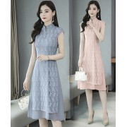KDS129385W Lace layer cheongsum dress