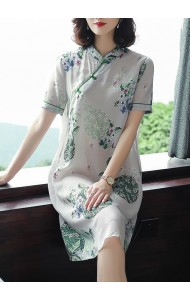 KDS128968W Silk print cheongsum dress