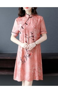 KDS120278W Silk print cheongsum dress