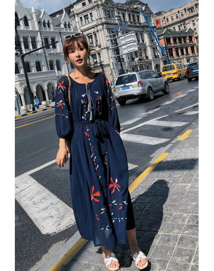 KDS124907Y Embroidery ethnic dress