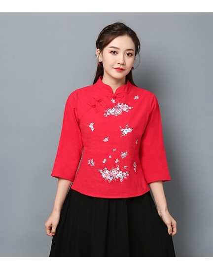 KTP125581L Embroidery linen cheongsum REAL PHOTO
