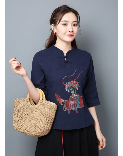 KTP121681L Embroidery linen cheongsum REAL PHOTO