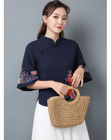 KTP123581L Embroidery linen cheongsum REAL PHOTO
