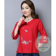KTP127281L Embroidery linen cheongsum REAL PHOTO