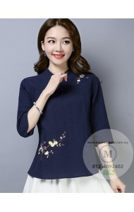 KTP125381L Embroidery linen cheongsum REAL PHOTO