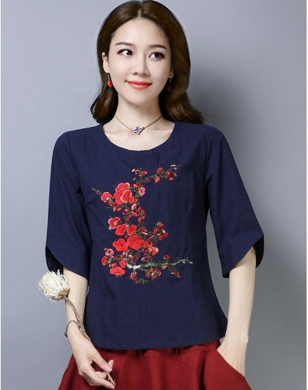 KTP122381L Embroidery linen cheongsum REAL PHOTO