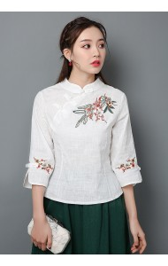 KTP129581L Embroidery linen cheongsum REAL PHOTO
