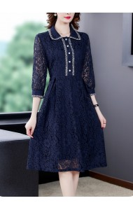 KDS125118M Collar blue lace dress