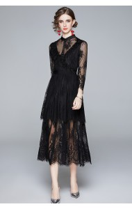 BDS122638Y Layer mesh shoulder lace dress