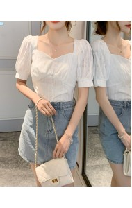 KTP120311S Embroidery puff sleeves mini top