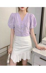 KTP129601S Embroidery crochet puff sleeves top