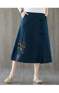 KSK129601X Embroidery linen skirt
