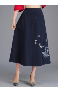 KSK122086X Embroidery umbrella linen skirt