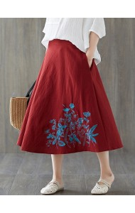 KSK125086X Embroidery umbrella linen skirt