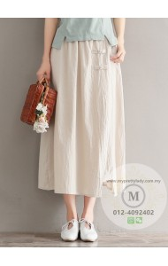 KSK123098X Linen skirt with cheognsum button