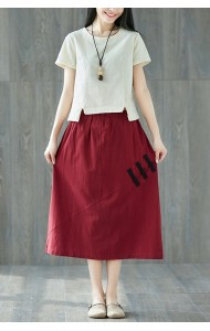 KSK128498X Linen skirt with cheognsum button